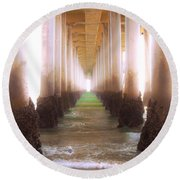 Seagull Under The Pier Round Beach Towel