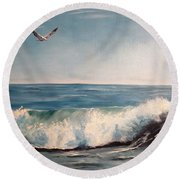 Seagull With Wave  Round Beach Towel