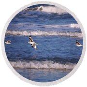 Seagulls Above The Seashore Round Beach Towel