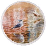Seagulls - Impressions Round Beach Towel