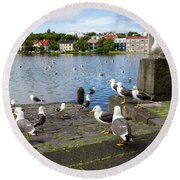 seagulls near a pond in the center of Reykjavik Round Beach Towel