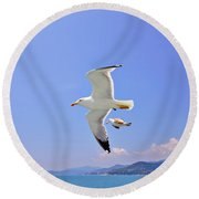 Seagulls Over Blue Sea Round Beach Towel