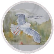 Seagulls Over Glacier Bay Round Beach Towel