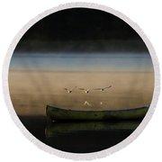 Seagulls Over Maquoit Bay,brunswick Me Round Beach Towel