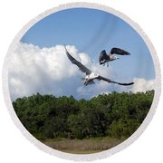 Seagulls Over Marsh Round Beach Towel