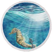 Seahorse Blues Round Beach Towel