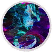 Seahorse In A Lightning Storm Round Beach Towel