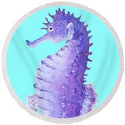 Seahorse Painting On Blue Background Round Beach Towel