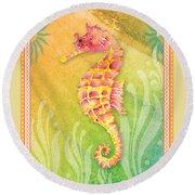 Seahorse Pink Round Beach Towel