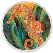 Seahorse - Spirit Of Contentment Round Beach Towel