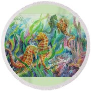 Seahorses Three Round Beach Towel