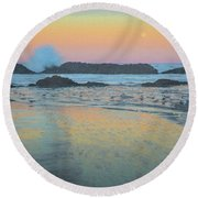 Seal Rock Moonset Round Beach Towel