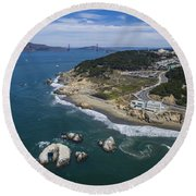 Seal Rocks At The Cliff House Round Beach Towel
