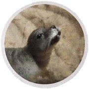 Seal With A Kiss Round Beach Towel