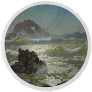 Seal_rock,_california Round Beach Towel
