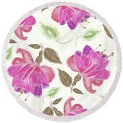 seamless   pattern of watercolor Fuchsia Flowers Round Beach Towel