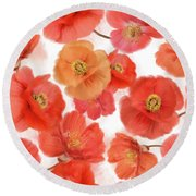 Seamless   Pattern Of Watercolor Poppy Flowers Round Beach Towel