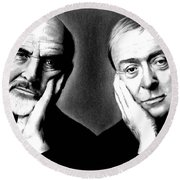 Sean Connery And Michael Caine Round Beach Towel