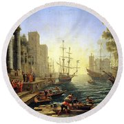 Seaport With The Embarkation Of Saint Ursula  Round Beach Towel