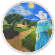 Searching For Her Elusive Cowboy Round Beach Towel