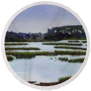 Searching Savannah Marsh By Marilyn Nolan- Johnson Round Beach Towel