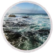 Seas Of The Wild West Coast Of Tasmania Round Beach Towel