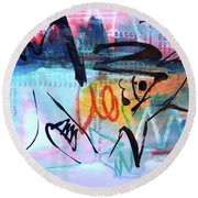 Seascape Abstract Round Beach Towel