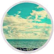 Seascape Cloudscape Instagramlike Round Beach Towel