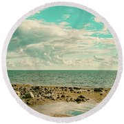Seascape Cloudscape Retro Effect Round Beach Towel