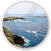Seascape From Point Lobos State Reserve Near Monterey-california  Round Beach Towel