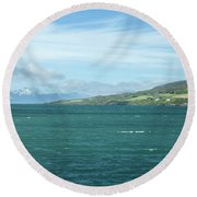 Seascape In Iceland On Summer  Round Beach Towel