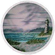 Seascape Lighthouse Round Beach Towel