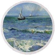 Seascape Near Les Saintes Maries De La Mer Arles June 1888 Vincent Van Gogh 1853  1890 Round Beach Towel