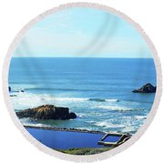 Seascape San Francisco Sutro Bath Pacific Ocean Shore Round Beach Towel