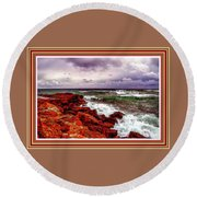 Seascape Scene On The Coast Of Cornwall L B With Alt. Decorative Ornate Printed Frame. Round Beach Towel