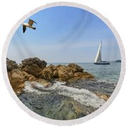 Seascape With A Yacht Round Beach Towel