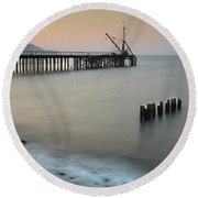 Seascape With Deserted Jetty During Sunset Round Beach Towel