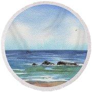 Seascape With Three Rocks Round Beach Towel