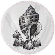 Seashell And Barnacles Round Beach Towel