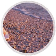 Seashell On The Beach, Lovers Key State Round Beach Towel