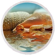 Seashell Reflections On Water Round Beach Towel