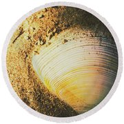 Seashells And Beach Colours Round Beach Towel
