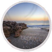 Seashells At The Seashore Round Beach Towel