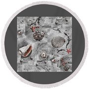 Seashells Collage Of Any Color Round Beach Towel