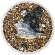 Seashells On The Seashore Round Beach Towel