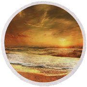 Seashore Sunset Round Beach Towel