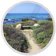 Seaside Bench Round Beach Towel