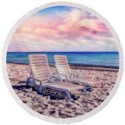 Seaside Chairs Round Beach Towel