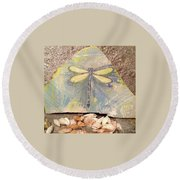 Seaside Dragonfly Round Beach Towel