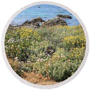 Seaside Flowers Round Beach Towel